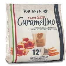 كبسولات قهوة كابتشينو بنكهة الكراميل من 101CAFFE